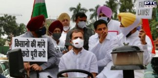 Rahul Gandhi drives tractor to Parliament, Congress workers detained