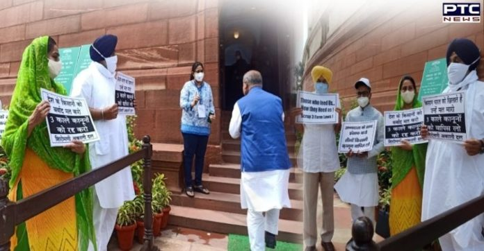 Monsoon Session Day 3: SAD continues to protest against farm laws outside Parliament