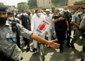 Monsoon Session 2021: Rahul Gandhi leads Opposition's cycle march to Parliament